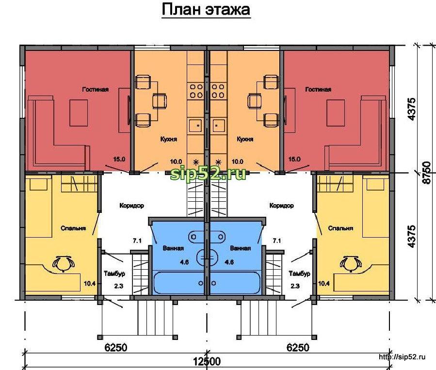 проект двухквартирного дома из СИП панелей 98,8 м2 СИП7, план