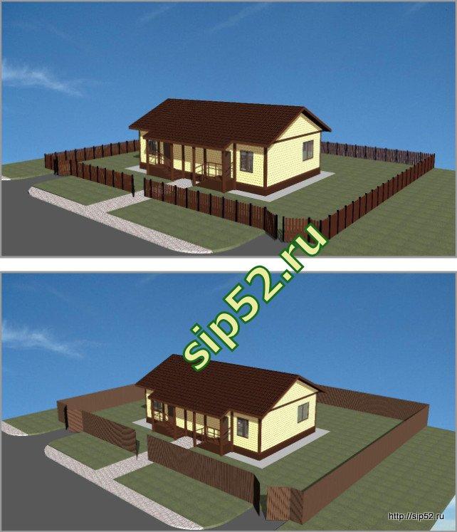 проект двухквартирного дома из СИП панелей 98,8 м2 СИП7, эскизы