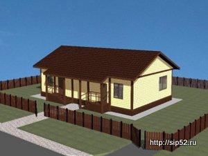 проект двухквартирного дома из СИП панелей 98,8 м2 СИП7, 300