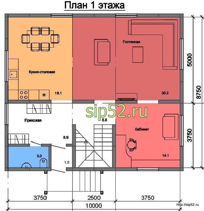 проект двухэтажного дома из СИП панелей 160 м2 СИП8, план 1 этажа