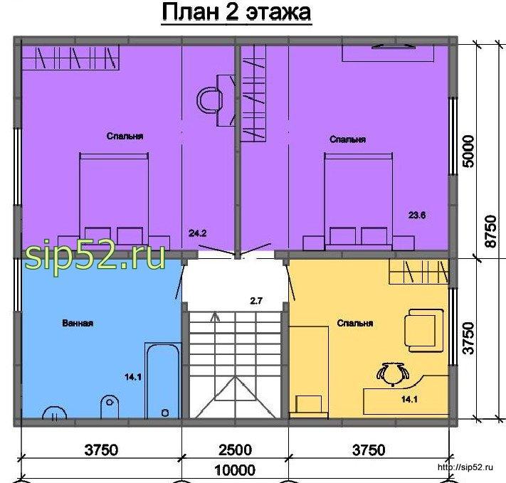 проект двухэтажного дома из СИП панелей 160 м2 СИП8, план 2 этажа
