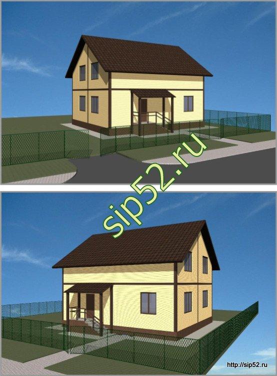 проект двухэтажного дома из СИП панелей 160 м2 СИП8, эскиз