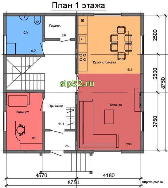 проект дома из СИП панелей 134,5 м2 СИП13, план 1 этажа