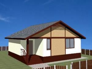 Проект одноэтажного дома из СИП панелей площадью 65,7 м2, СИП2