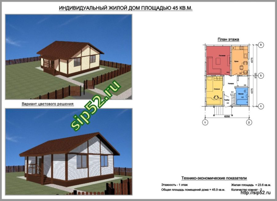 проект дома из СИП панелей 46 м2 СИП6, ТЭП