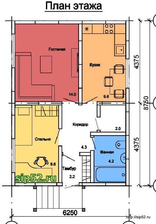 проект дома из СИП панелей 46 м2 СИП6, план