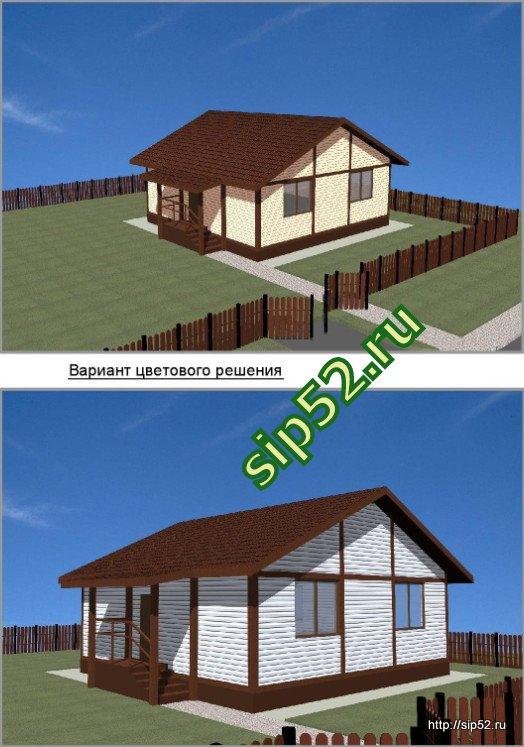 проект дома из СИП панелей 46 м2 СИП6, эскизы