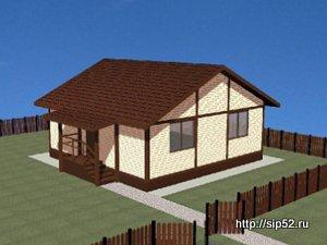 проект дома из СИП панелей 46 м2 СИП6, 300