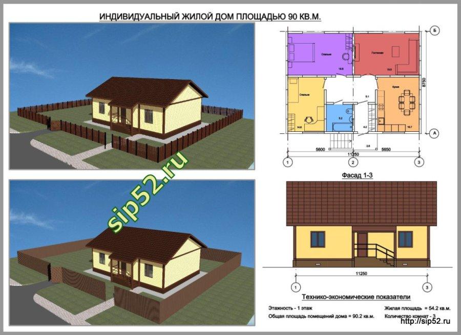 проект дома из СИП панелей 54 м2 СИП10, ТЭП