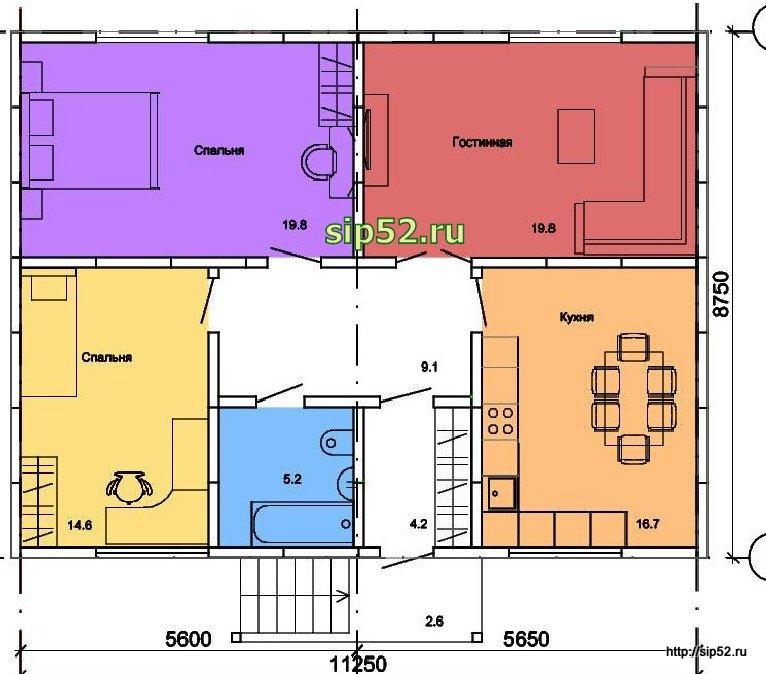 проект дома из СИП панелей 54 м2 СИП10, план