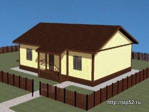 проект дома из СИП панелей 54 м2 СИП10, 300