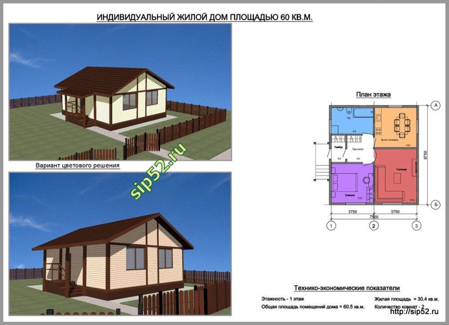 проект дома из СИП панелей 61 м2 СИП4, ТЭП