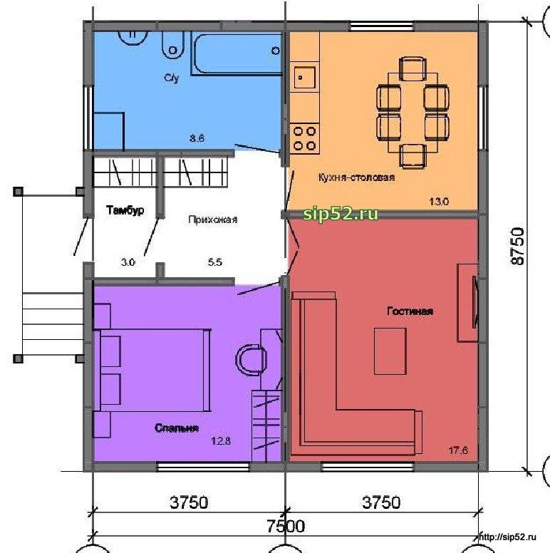 проект дома из СИП панелей 61 м2 СИП4, план