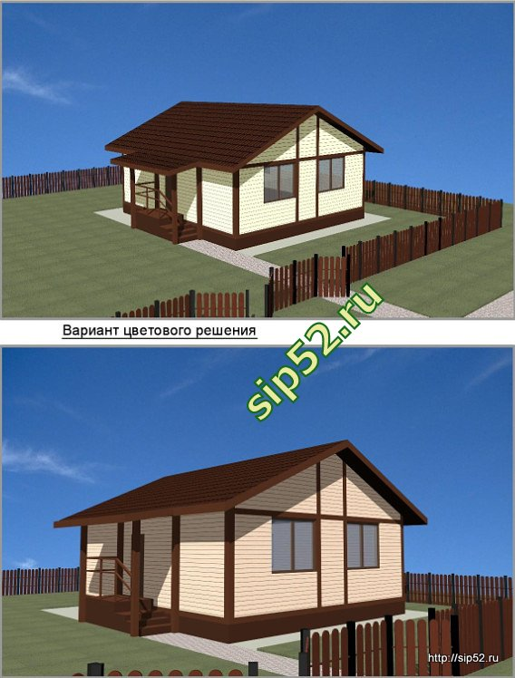 проект дома из СИП панелей 61 м2 СИП4, эскизы