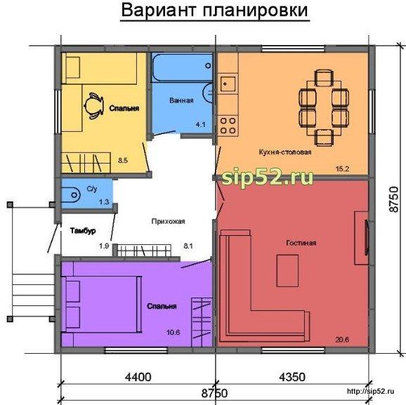проект дома из СИП панелей 70,7 м2 СИП11, план вариант