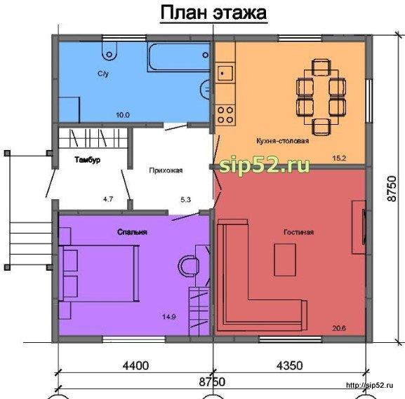 проект дома из СИП панелей 70,7 м2 СИП11, план