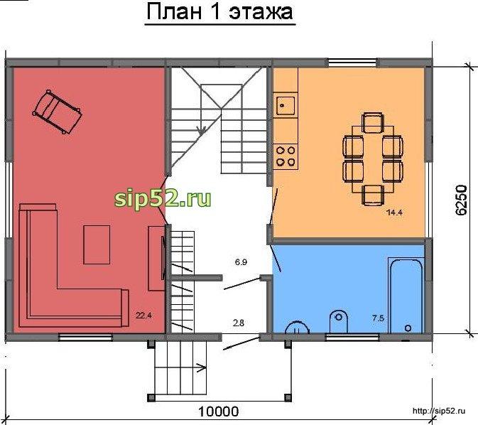 проект дома из СИП панелей 90 м2 СИП9, план 1 этажа
