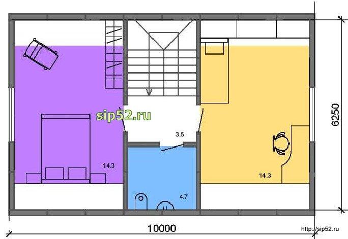 проект дома из СИП панелей 90 м2 СИП9, план 2 этажа