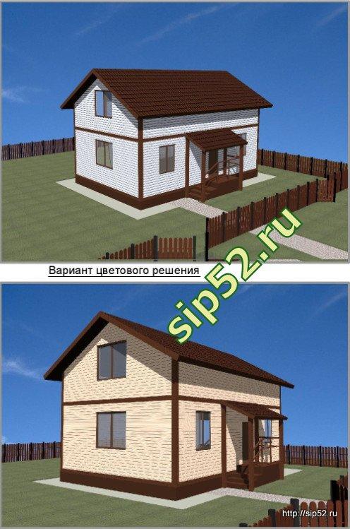 проект дома из СИП панелей 90 м2 СИП9, эскиз
