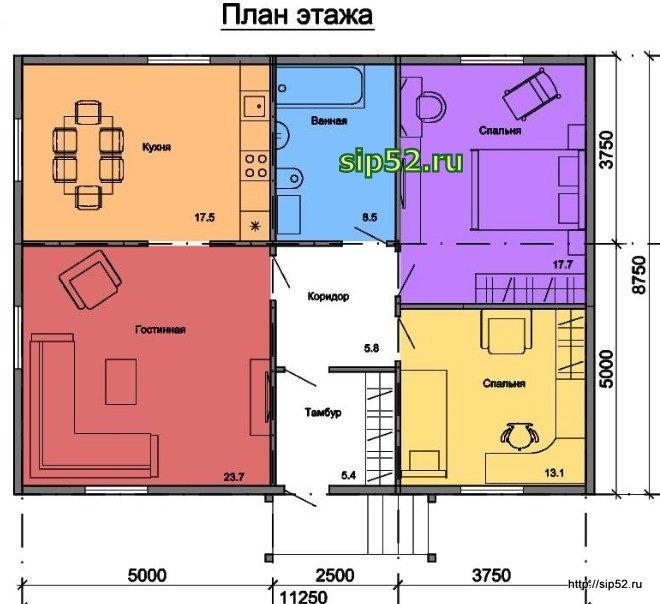 проект дома из СИП панелей 90,8 м2 СИП12, план
