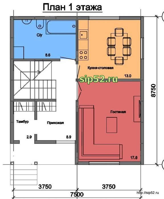 проект дома из СИП панелей 94 м2 СИП5, план 1 этажа