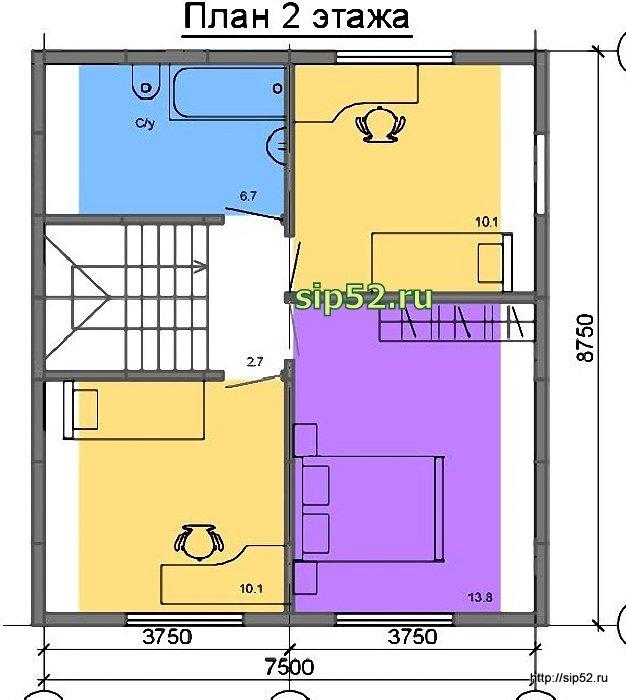 проект дома из СИП панелей 94 м2 СИП5, план 2 этажа
